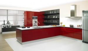 Diseño de cocina laca rojo
