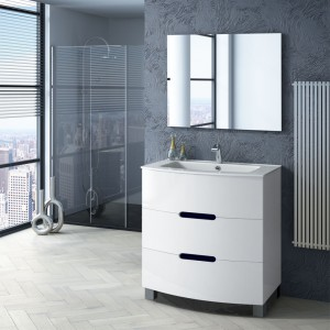 Mueble de lavabo blanco con gavetas y tirador con fondo negro