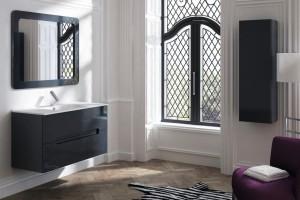 Combinación de muebles negros para baño. Mueble de lavabo con gavetas y mueble auxiliar.