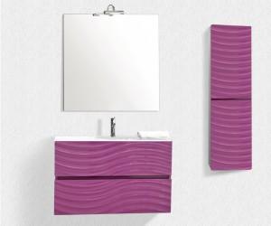 Mueble de lavabo de colgar y mueble auxiliar con frentes en malva y efecto onda
