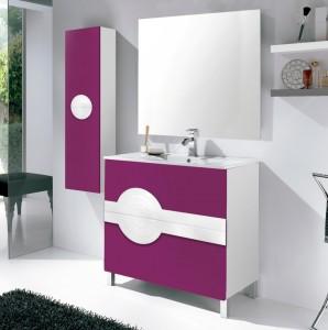 Conjunto de lavabo y  mueble auxiliar con frente en morado y cuerpo, lavabo y detalle en blanco